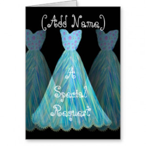 CUSTOM NAME - Bridesmaid TURQUOISE BLUE Dress Greeting Cards