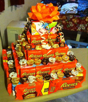 DIY Reese's peanut butter cup fake cake that I made with floral foam ...