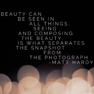 Beauty can be seen in all things. Seeing and composing the beauty is ...