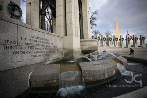 water feature on the grandiose World War Two Memorial with a quote ...
