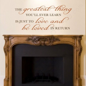 Love Wall Quote above a fireplace