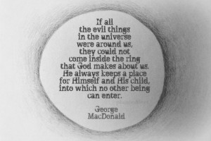 Inspirational quote blank greeting card - George MacDonald, circle ...