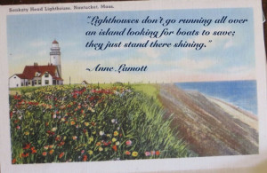 Sankaty Head Light - Nantucket - Postcard - Anne Lamott Quote
