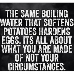 The same boiling water that softens potatoes, hardens eggs.It's all ...