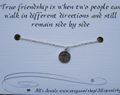 Best Friend Compass Necklace and Inspirational Card - Long Distance Fr ...