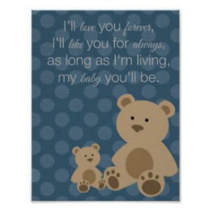 Teddy Bear Mom and Baby Quote Art Print