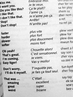 My 7th grade French class never gave me this vocabulary lesson... More