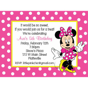 Minnie Mouse Birthday Invitation-minnie mouse, pink, polka dots