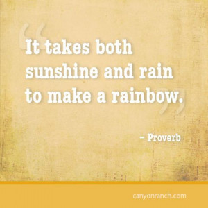 It takes both sunshine and rain to make a rainbow. – Proverb