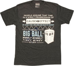 Doctor Who Big Ball of Wibbly Wobbly Timey Wimey Quote T-Shirt Sheer