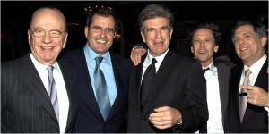 from left, Rupert Murdoch, Peter A. Chernin, Tom Freston, the film and ...