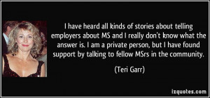 have heard all kinds of stories about telling employers about MS and ...
