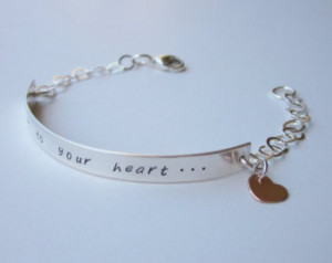 ... Quote Jewelry Silver Bar Engraved Quote Bracelet Personalized Curved