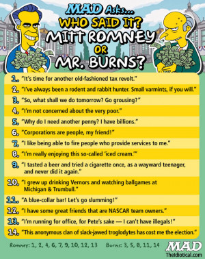 Mitt Romney Mr. Burns quotes Mad magazine