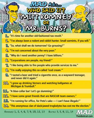 Mitt Romney Mr. Burns quotes Mad magazine