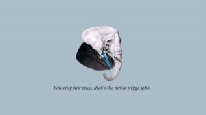 minimalistic quotes elephants yolo Wallpaper