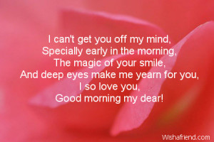 ... the time when I fall in love with you all over again… Good morning