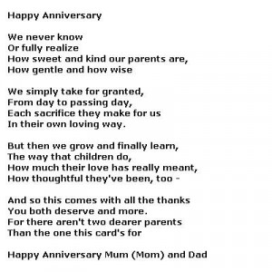 wedding anniversary poems for parents wedding anniversary quotes for ...