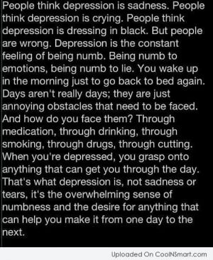Depression Quotes, Sayings about being depressed