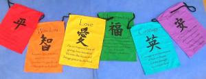Tibetan Prayer flags, Natural Handmade Tibetan affirmation flags