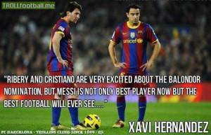Xavi on Messi and Ballon d'or.
