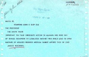 ... the baseball hero , sent a telegram (external link) to the President
