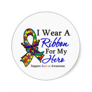 Wear a Ribbon For My HERO Autism Round Sticker