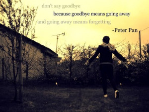 Don't say goodbye because goodbye means going away and going away ...