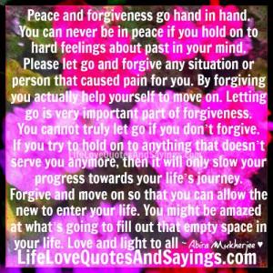 Peace and forgiveness ..