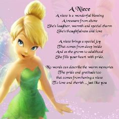 Personalised Coaster - Niece Poem - Tinkerbell Design + FREE GIFT BOX
