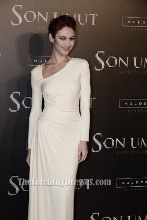 Olga Kurylenko Ivory Long Sleeve Formal Dress'The Water Diviner ...