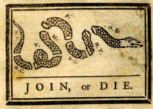 Benjamin Franklin drew this now-famous cartoon of a disjointed snake ...