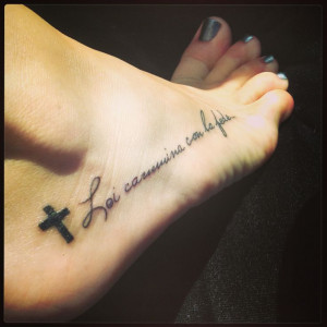Black Cross And Faith Tattoo On Girl Right Foot