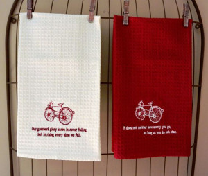 Bicycle Kitchen Towels-Inspirational Confucius Quotes-Bicycle Gift ...