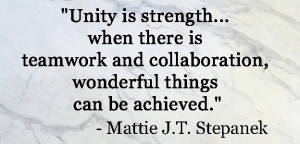 Unity is strength.. when there is teamwork and collaboration ...