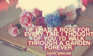 If I had a rose for every time I thought of you, I'd walk through a ...