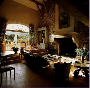 decor, fireplace, home, interior, sitting room, stone, sunlight, villa ...