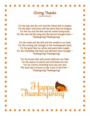 Best Short Happy Thanksgiving Day Poems For Family 2014