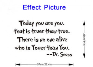 Product Name TODAY YOU ARE YOU Dr Seuss quote vinyl wall decal