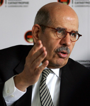 Mohamed ElBaradei chief of the International Atomic Energy Agency ...