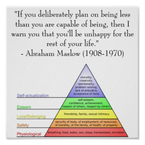 Abraham Maslow Quote & Hierarchy of Needs Print