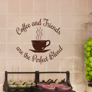 ... Coffee Shop Friends Kitchen Quotes Decal Art Wall Stickers Size60x60CM