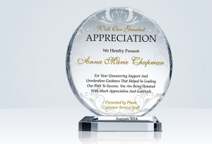 Appreciation Award Plaque Wording
