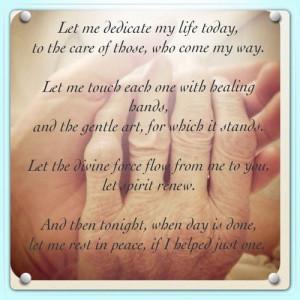 Massage Therapist Prayer / Inspirational words