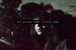black and white, galaxy, girl, quote, stars, text, typography