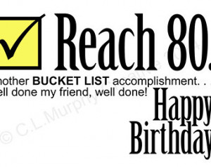 DOWNLOAD, 80th Birthday, Turning 80 , Bucket List Birthday, Friend ...