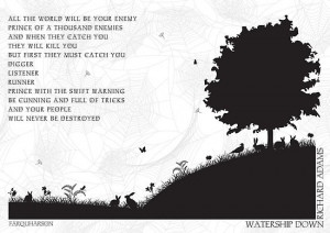 ... › Portfolio › Watership Down Black and White Illustrated Quote