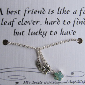 Best Friend Lucky Charm Necklace and Friendship Quote Inspirational ...