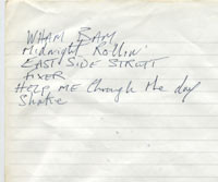 Steve Marriott handwritten setlist from the Small Faces