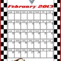 Cars2 Tow Mater February 2013 Calendar